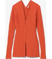 proenza schouler white label rib knit zip cardigan brightorange l