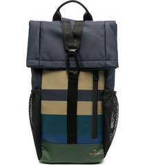 ps paul smith coated engineered stripe sling backpack - blue