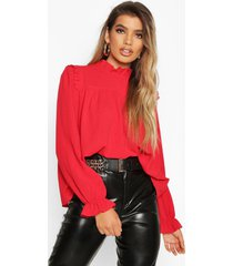 high neck ruffle detail top, red