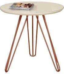 mesa de canto pé cobreado c&m decor laca branco