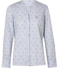 camisa dudalina manga longa jacquard fio tinto detalhe vista feminina (estampado, 46)