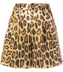 etro leopard print shorts - brown
