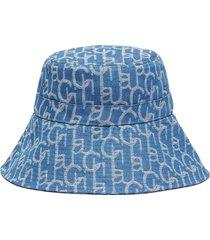 monogram print wide brim denim bucket hat