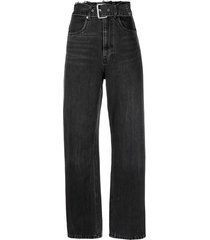 alexander wang belted straight-leg jeans - black