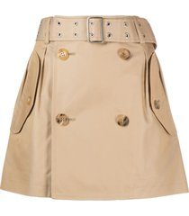 junya watanabe belted a-line mini skirt - neutrals