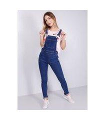 macacão jeans elastano longo azul escuro
