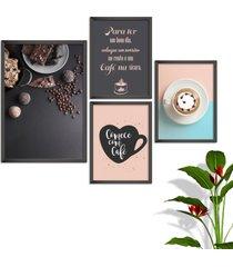 kit conjunto 4 quadro oppen house s frases comece com cafã© lojas cafeteria xãcaras grã£os moldura preta decorativo interiores    sem vidro - multico