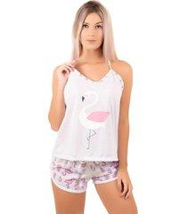 pijama bella fiore modas short doll estampado rosa claro