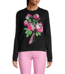 love moschino women's floral intarsia sweatshirt - black - size 44 (10)