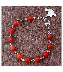agate beaded bracelet, 'dove in flight' (peru)