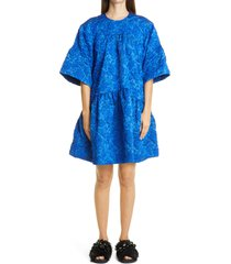 women's simone rocha drop waist cloque dress, size 4 us - blue
