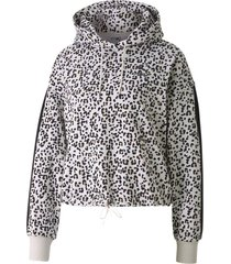 buzo animal print puma classics cropped