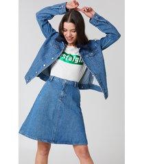 na-kd a-line midi denim skirt - blue