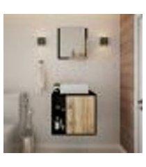conjunto para banheiro gabinete com cuba q32 e espelheira soft 500 preto ônix com carvalho