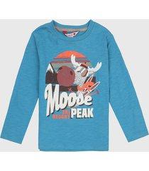 camiseta manga larga azul turquesa boboli
