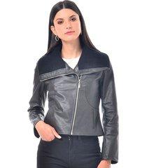 chaqueta para mujer en polipiel cafe color negro talla xl