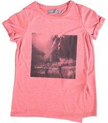 geisha zacht t-shirt koraal met 1 zijsplit