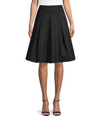 cross waist cotton-blend skirt