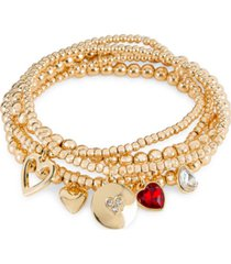 rachel rachel roy gold-tone 5-pc. set crystal multi-heart charm beaded stretch bracelets