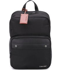 calvin klein squared logo patch backpack - black
