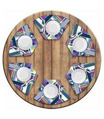 jogo americano love decor  para mesa redonda wevans poly kit com 6 pçs