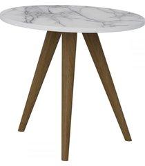 mesa de canto redonda 1005 retro branco/carrara - bentec