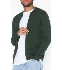 premium by jack & jones jpredgar knit zipper baseball cardi tröjor mörk grön
