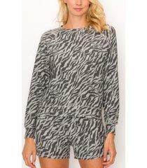 coin 1804 women's zebra french terry raglan sweatshirt