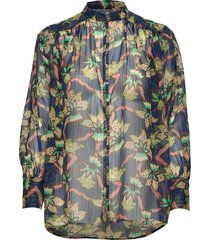 relaxed fit sheer printed shirt with lurex stripe blouse lange mouwen multi/patroon scotch & soda
