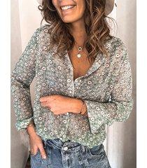 camicetta da donna con colletto rovesciato manica lunga casual con stampa floreale