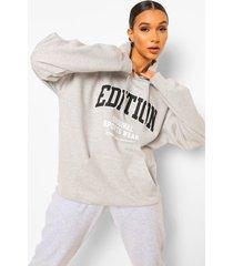 edition hoodie met tekst, grey marl