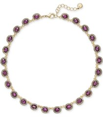 "charter club crystal collar necklace, 17"" + 2"" extender, created for macy's"