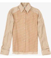 bally wings printed silk shirt beige 42