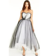 betsey johnson sweetheart-neck strapless high-low gown