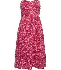tjw floral bandeau dress knälång klänning rosa tommy jeans