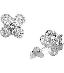 brinco botão de flor em prata 925