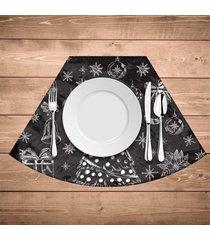 jogo americano para mesa redonda wevans natal em giz kit com 4 pçs