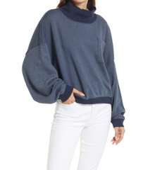 free people rae organic cotton blend funnel neck pullover, size x-large in night timing at nordstrom