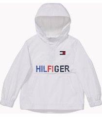 tommy hilfiger boy's adaptive hilfiger lightweight hooded jacket bright white - l