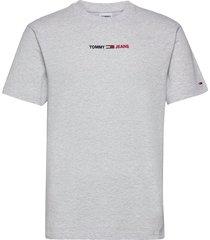 tjm linear logo tee t-shirts short-sleeved grå tommy jeans