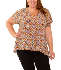 plus size short sleeve handkerchief hem pullover with rings