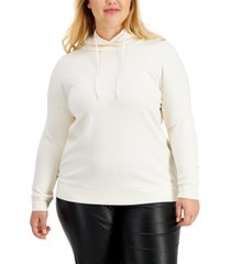 anne klein plus size serenity drop-shoulder hoodie