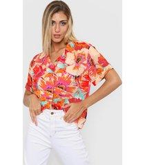 camisa beige nano hawai floreada