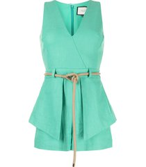 alexis darby belted crepe playsuit - green