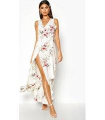 bloemenprint maxi wikkel jurk met franjeszoom, wit