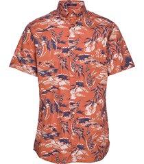 d2. riviera view print reg bd ss overhemd met korte mouwen oranje gant