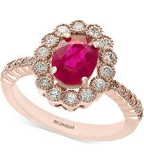amore by effy certified ruby (1-3/8 ct. t.w.) and diamond (5/8 ct. t.w.) statement ring in 14k rose gold, created for macy's