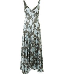 lee mathews floral-print tiered twill dress - green