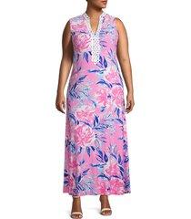 pappagallo women's plus sleeveless printed maxi dress - cactus rose - size 14