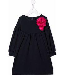 il gufo floral-appliqué cotton dress
